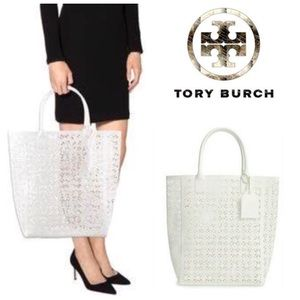 AUTHENTIC!  Tory Burch lace perforated tote